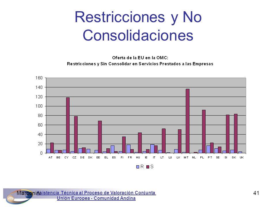 Asistencia Técnica al Proceso de Valoración Conjunta Unión Europea - Comunidad Andina Marconini41 Restricciones y No Consolidaciones