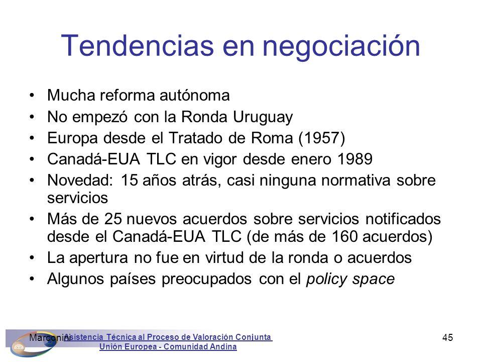 Asistencia Técnica al Proceso de Valoración Conjunta Unión Europea - Comunidad Andina Marconini45 Tendencias en negociación Mucha reforma autónoma No