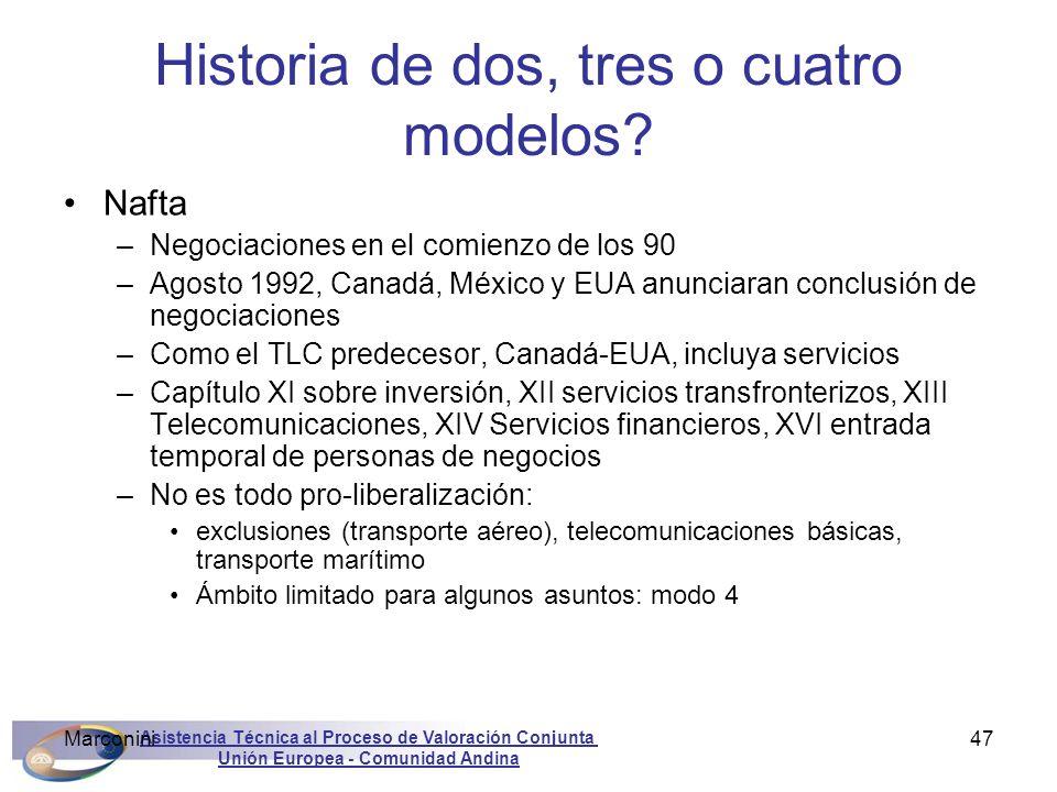 Asistencia Técnica al Proceso de Valoración Conjunta Unión Europea - Comunidad Andina Marconini47 Historia de dos, tres o cuatro modelos? Nafta –Negoc