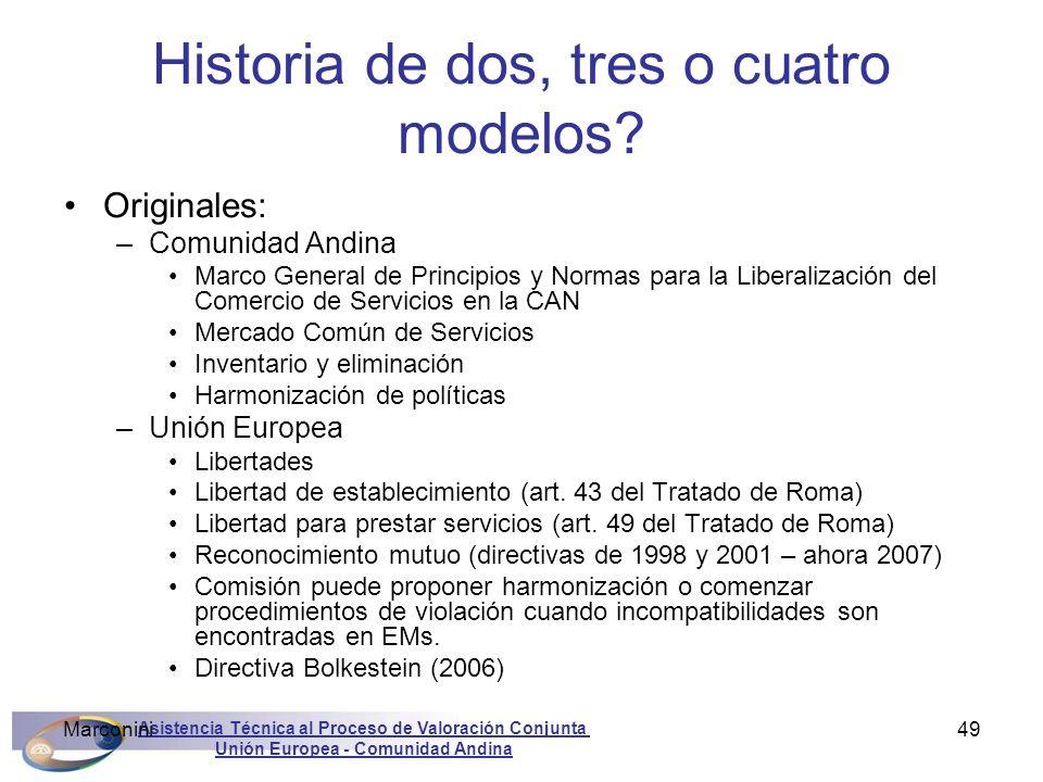 Asistencia Técnica al Proceso de Valoración Conjunta Unión Europea - Comunidad Andina Marconini49 Historia de dos, tres o cuatro modelos? Originales: