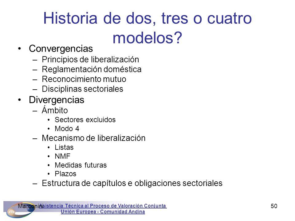 Asistencia Técnica al Proceso de Valoración Conjunta Unión Europea - Comunidad Andina Marconini50 Historia de dos, tres o cuatro modelos? Convergencia