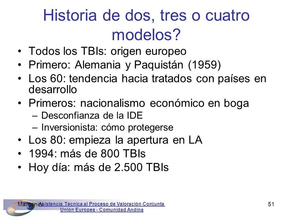 Asistencia Técnica al Proceso de Valoración Conjunta Unión Europea - Comunidad Andina Marconini51 Historia de dos, tres o cuatro modelos? Todos los TB