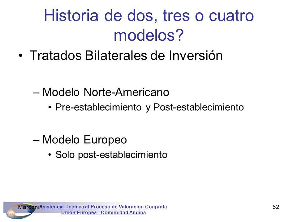 Asistencia Técnica al Proceso de Valoración Conjunta Unión Europea - Comunidad Andina Marconini52 Historia de dos, tres o cuatro modelos? Tratados Bil