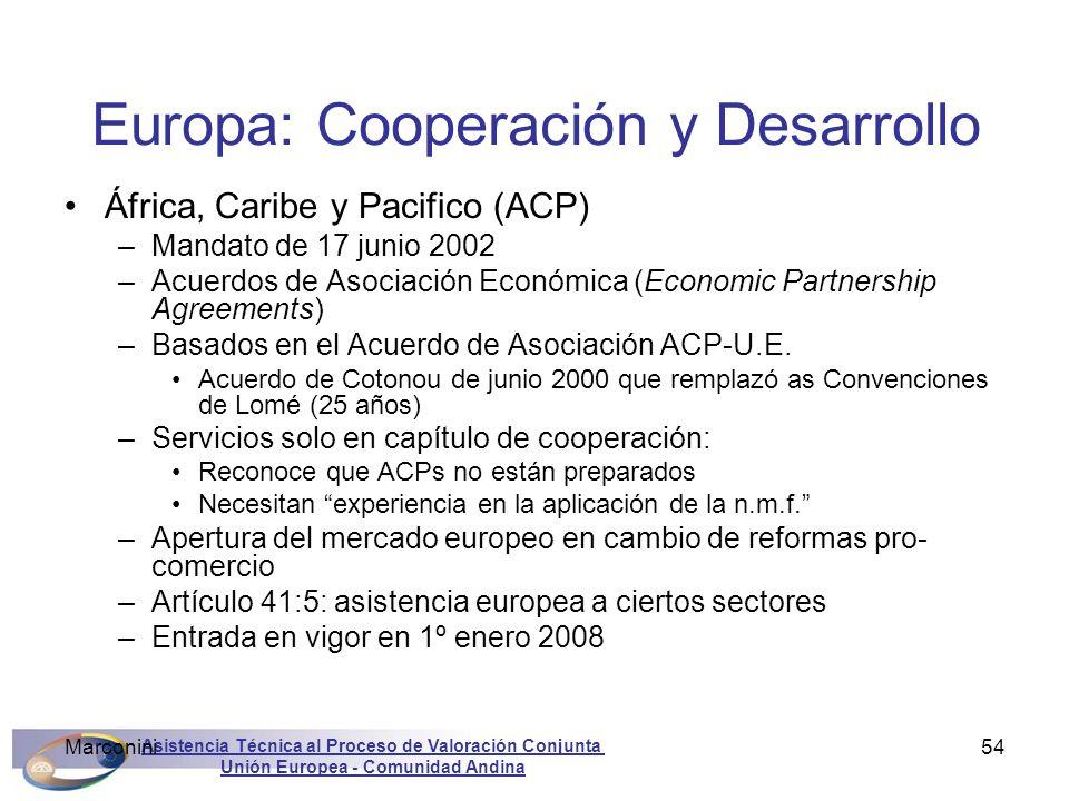 Asistencia Técnica al Proceso de Valoración Conjunta Unión Europea - Comunidad Andina Marconini54 Europa: Cooperación y Desarrollo África, Caribe y Pa