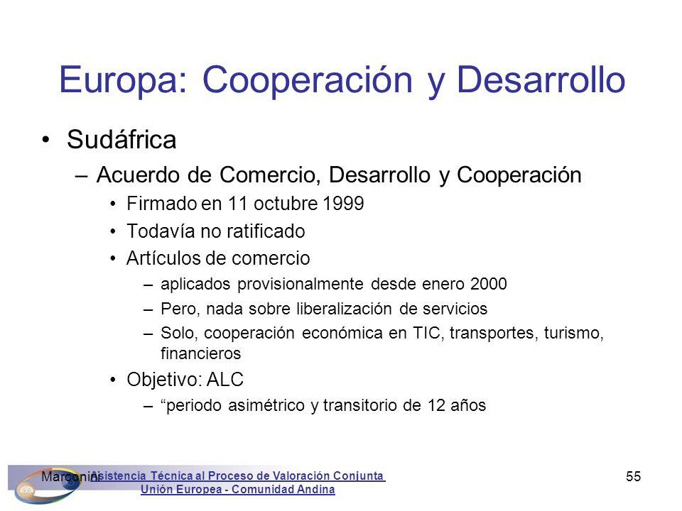 Asistencia Técnica al Proceso de Valoración Conjunta Unión Europea - Comunidad Andina Marconini55 Europa: Cooperación y Desarrollo Sudáfrica –Acuerdo