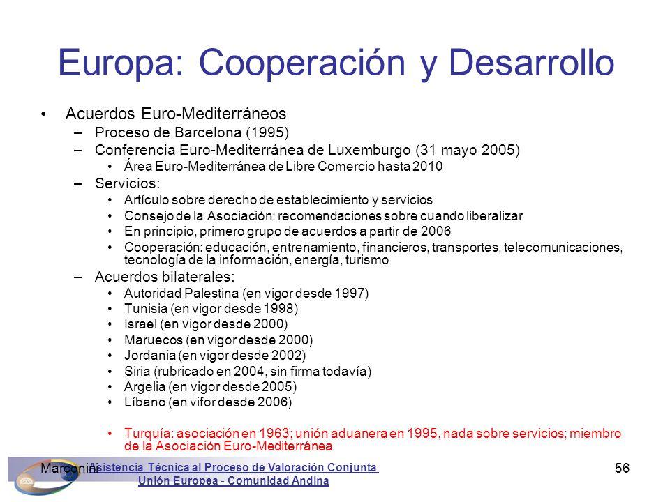 Asistencia Técnica al Proceso de Valoración Conjunta Unión Europea - Comunidad Andina Marconini56 Europa: Cooperación y Desarrollo Acuerdos Euro-Medit