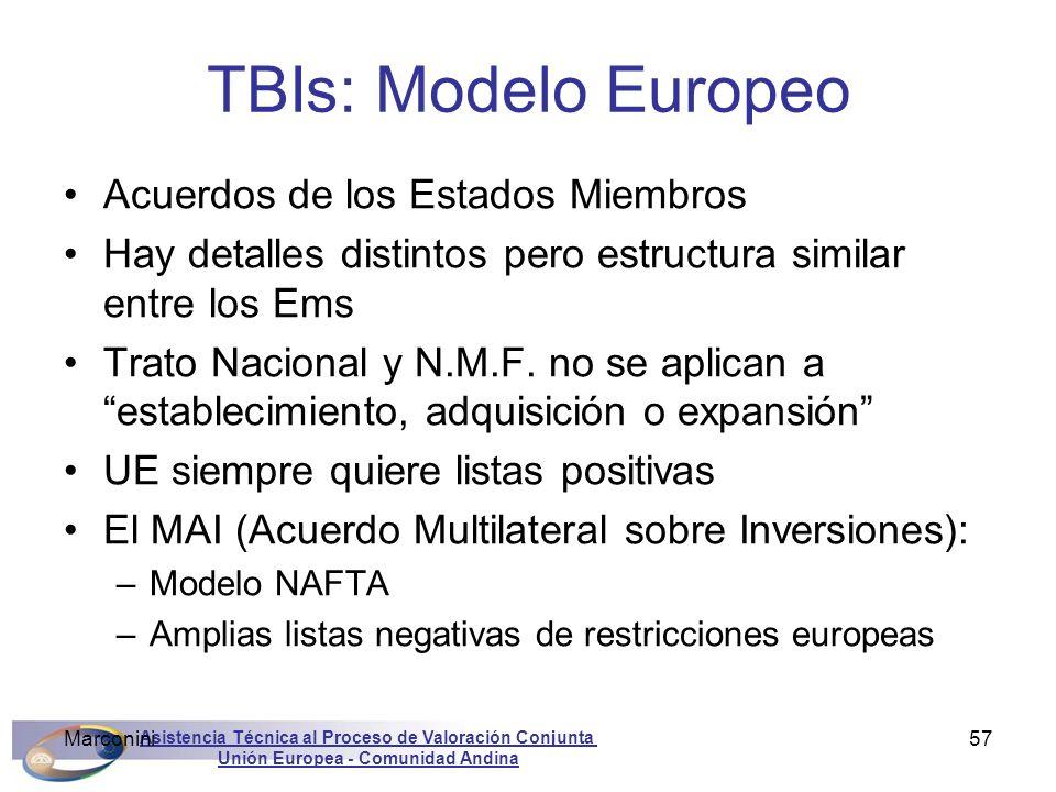 Asistencia Técnica al Proceso de Valoración Conjunta Unión Europea - Comunidad Andina Marconini57 TBIs: Modelo Europeo Acuerdos de los Estados Miembro