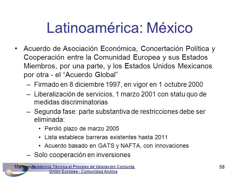 Asistencia Técnica al Proceso de Valoración Conjunta Unión Europea - Comunidad Andina Marconini58 Latinoamérica: México Acuerdo de Asociación Económic