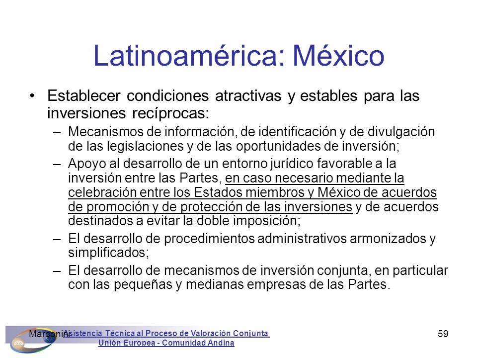 Asistencia Técnica al Proceso de Valoración Conjunta Unión Europea - Comunidad Andina Marconini59 Latinoamérica: México Establecer condiciones atracti