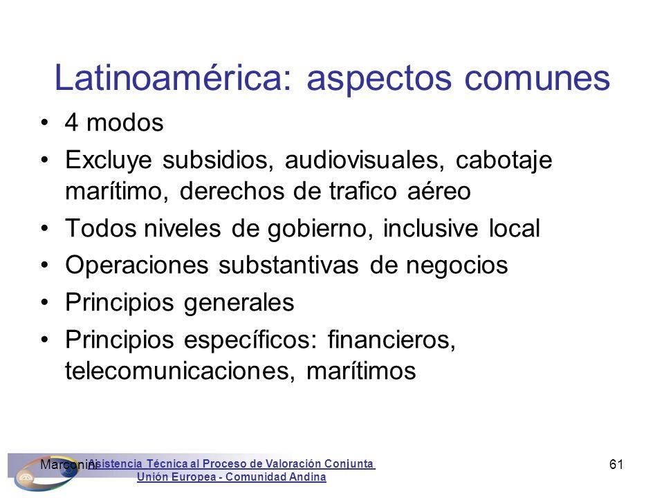 Asistencia Técnica al Proceso de Valoración Conjunta Unión Europea - Comunidad Andina Marconini61 Latinoamérica: aspectos comunes 4 modos Excluye subs