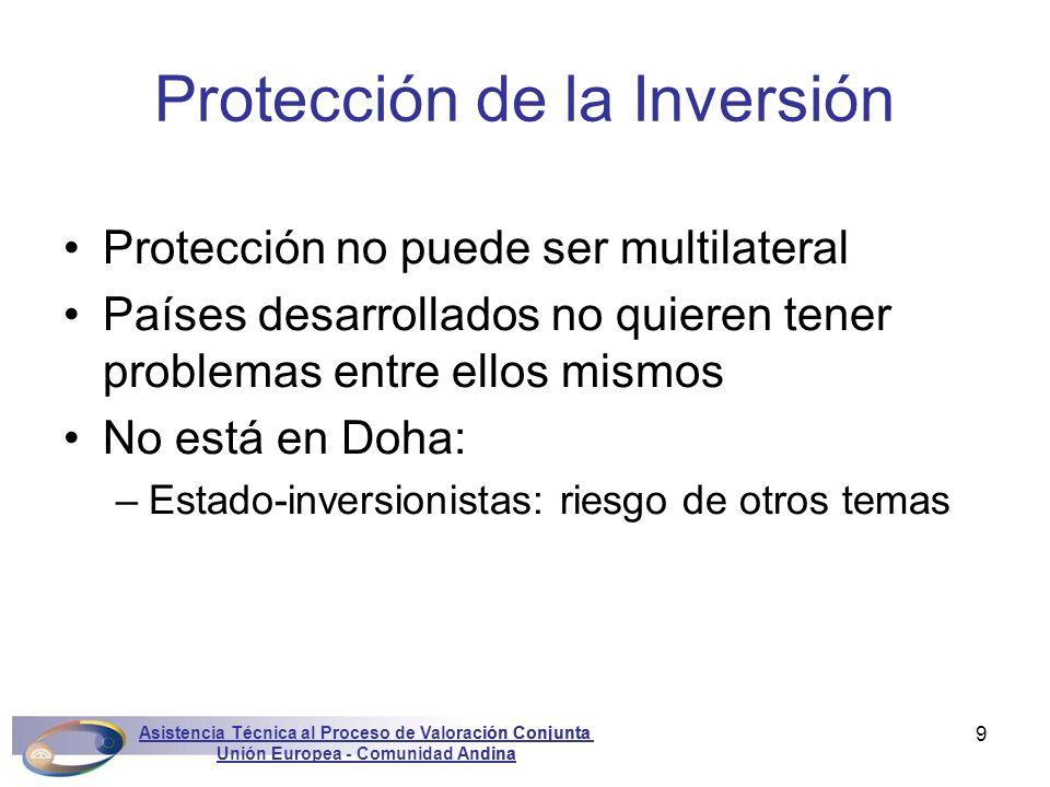 Asistencia Técnica al Proceso de Valoración Conjunta Unión Europea - Comunidad Andina Marconini9 Protección no puede ser multilateral Países desarroll