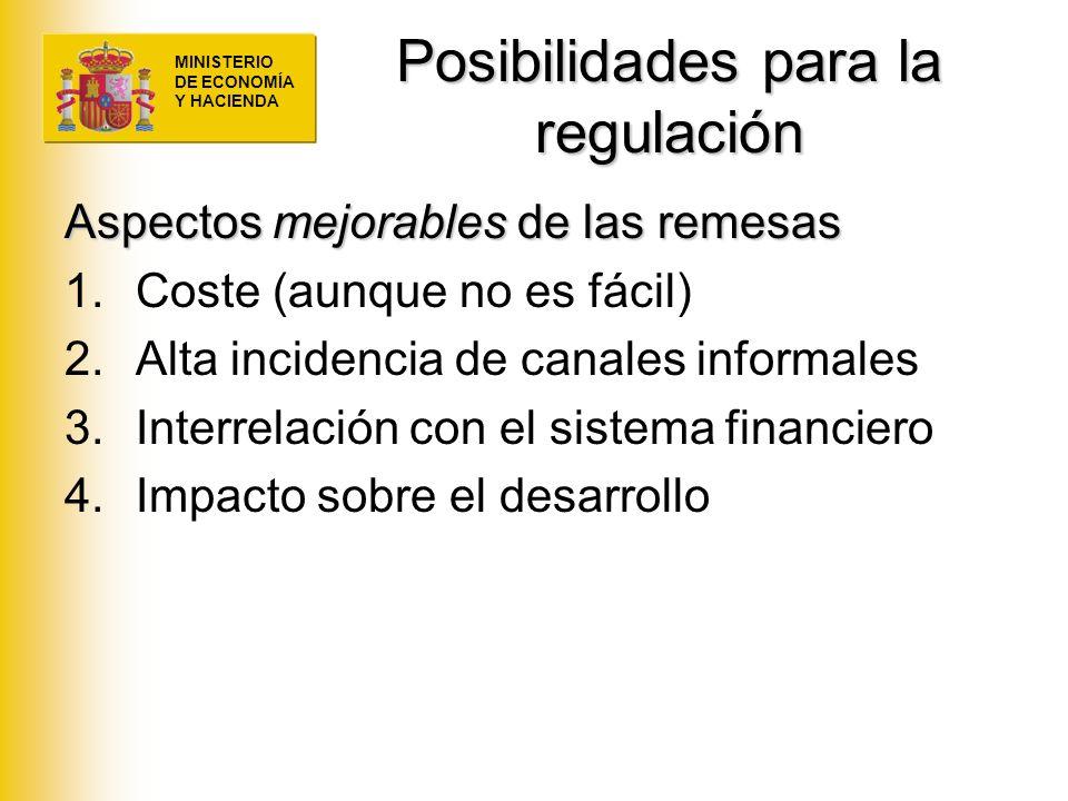 MINISTERIO DE ECONOMÍA Y HACIENDA Posibilidades para la regulación Aspectos mejorables de las remesas 1.Coste (aunque no es fácil) 2.Alta incidencia d