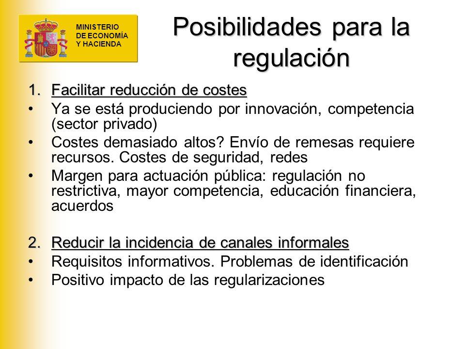 MINISTERIO DE ECONOMÍA Y HACIENDA Posibilidades para la regulación 1.Facilitar reducción de costes Ya se está produciendo por innovación, competencia