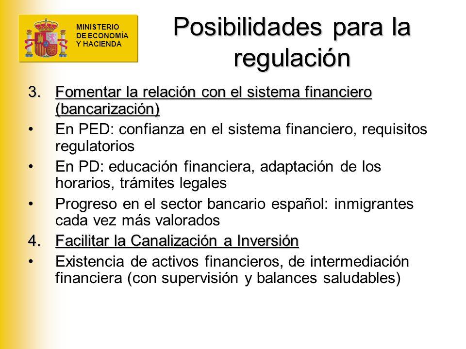 MINISTERIO DE ECONOMÍA Y HACIENDA Posibilidades para la regulación 3.Fomentar la relación con el sistema financiero (bancarización) En PED: confianza