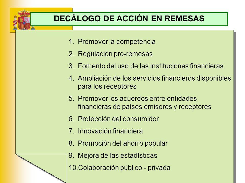 MINISTERIO DE ECONOMÍA Y HACIENDA 1.Promover la competencia 2.Regulación pro-remesas 3.Fomento del uso de las instituciones financieras 4.Ampliación d