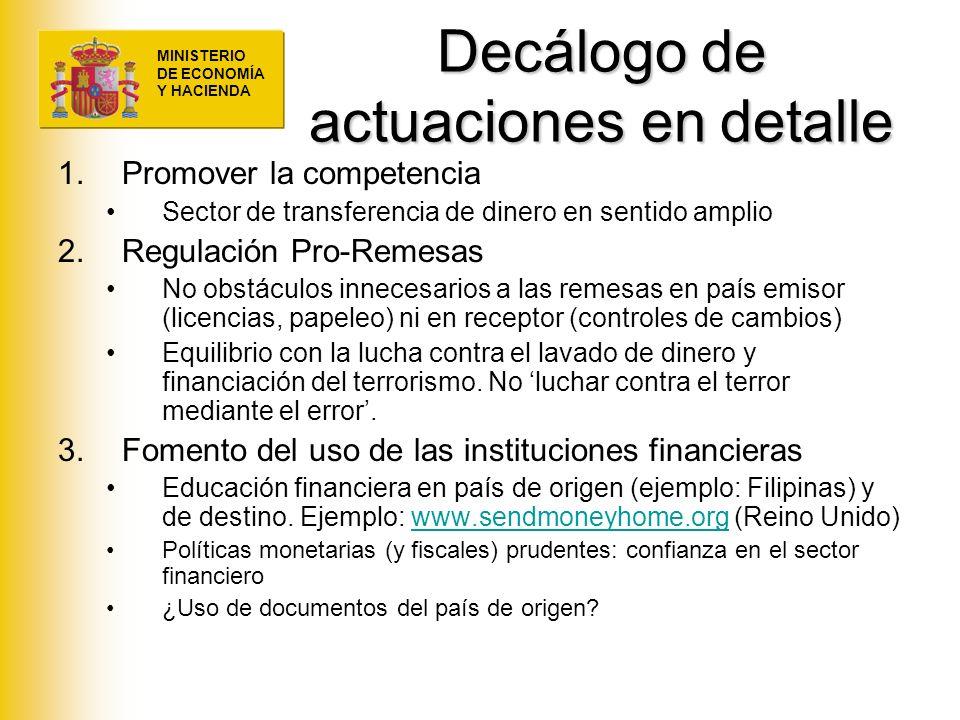 MINISTERIO DE ECONOMÍA Y HACIENDA Decálogo de actuaciones en detalle 1.Promover la competencia Sector de transferencia de dinero en sentido amplio 2.R