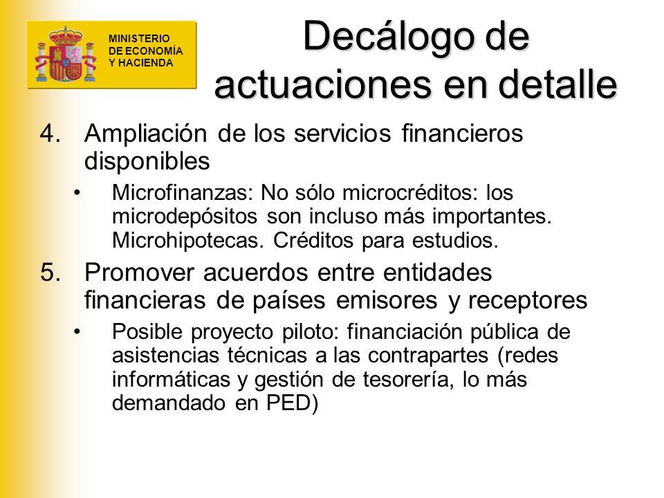 MINISTERIO DE ECONOMÍA Y HACIENDA Decálogo de actuaciones en detalle 4.Ampliación de los servicios financieros disponibles Microfinanzas: No sólo micr