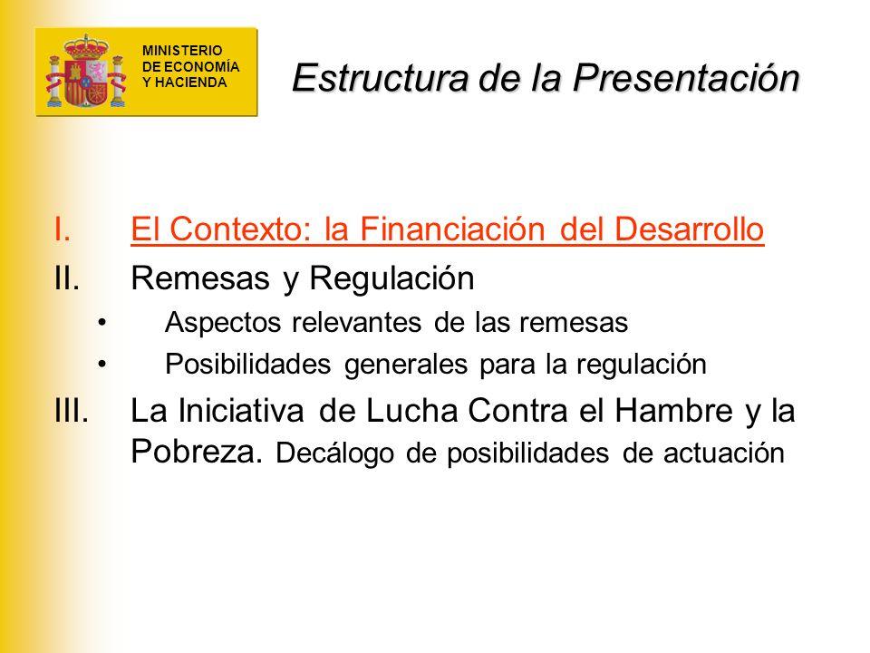 MINISTERIO DE ECONOMÍA Y HACIENDA Estructura de la Presentación I.El Contexto: la Financiación del Desarrollo II.Remesas y Regulación Aspectos relevan