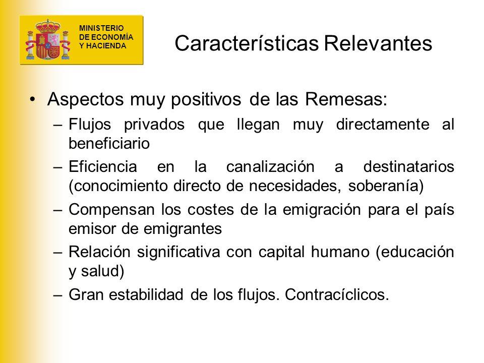 MINISTERIO DE ECONOMÍA Y HACIENDA Características Relevantes Aspectos muy positivos de las Remesas: –Flujos privados que llegan muy directamente al be
