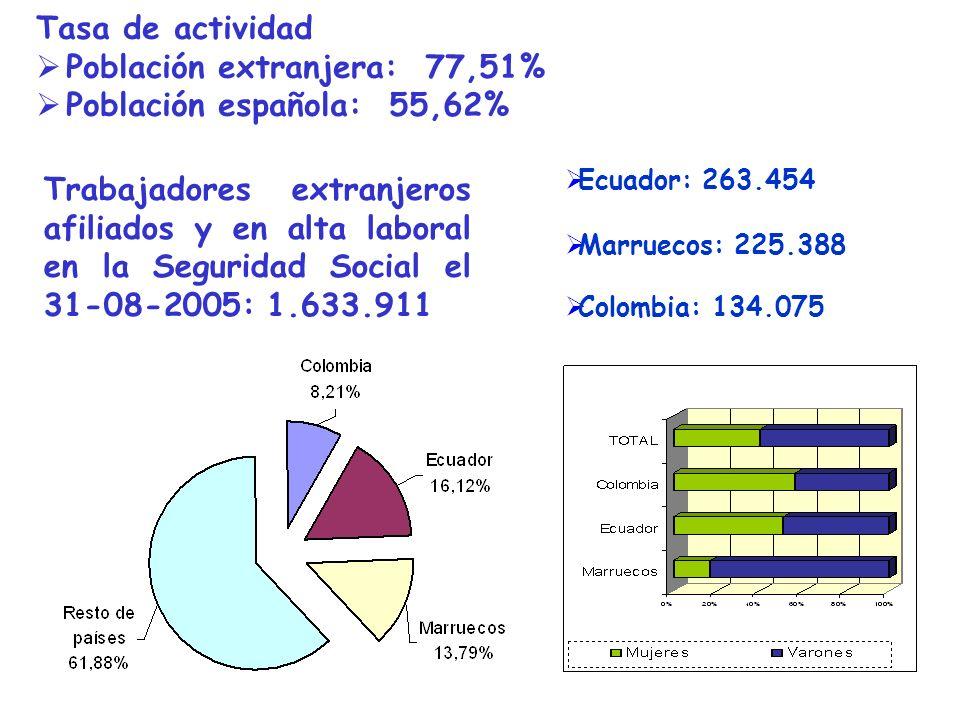 Ecuador: 263.454 Trabajadores extranjeros afiliados y en alta laboral en la Seguridad Social el 31-08-2005: 1.633.911 Marruecos: 225.388 Colombia: 134.075 Tasa de actividad Población extranjera: 77,51% Población española: 55,62%