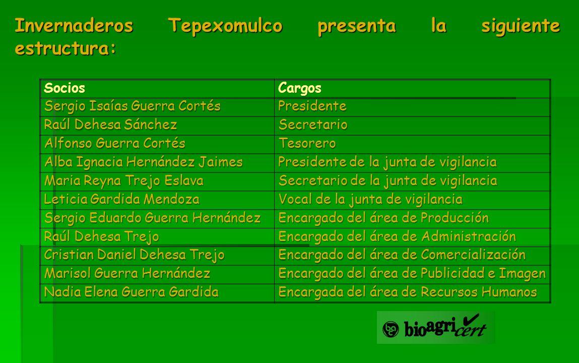 Invernaderos Tepexomulco presenta la siguiente estructura: SociosCargos Sergio Isaías Guerra Cortés Presidente Raúl Dehesa Sánchez Secretario Alfonso