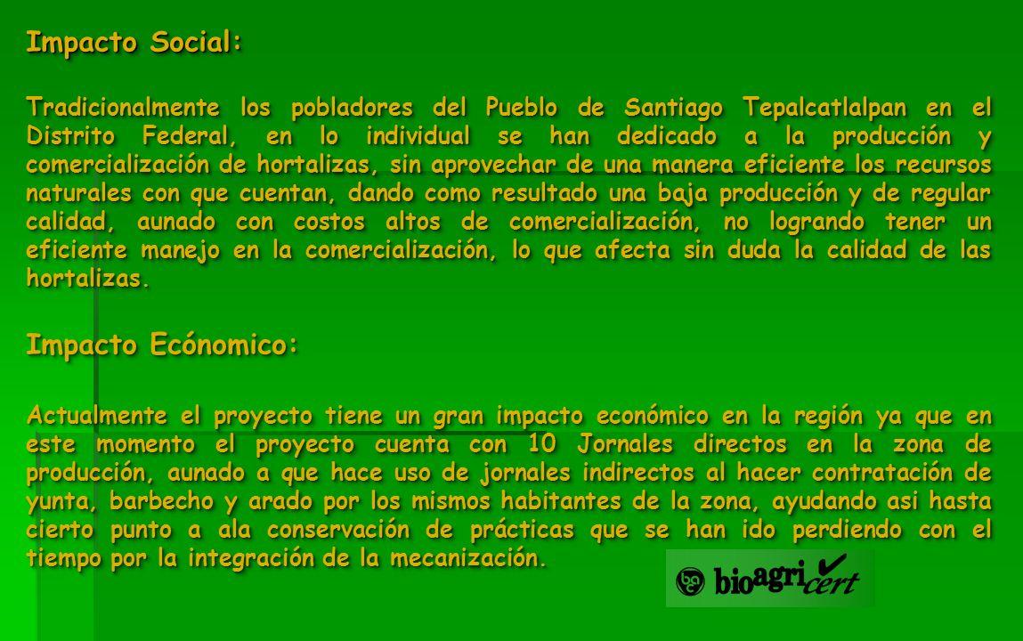 Impacto Social: Tradicionalmente los pobladores del Pueblo de Santiago Tepalcatlalpan en el Distrito Federal, en lo individual se han dedicado a la pr