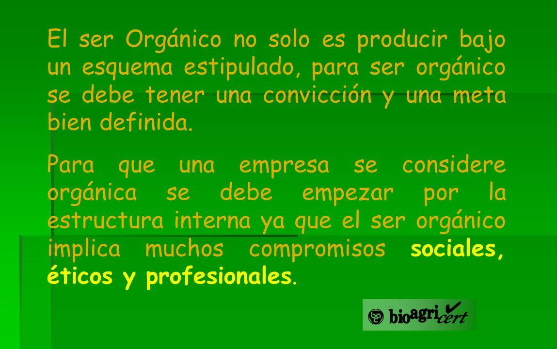 El ser Orgánico no solo es producir bajo un esquema estipulado, para ser orgánico se debe tener una convicción y una meta bien definida. Para que una