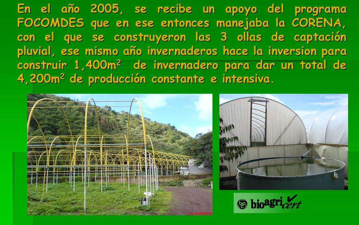 En el año 2005, se recibe un apoyo del programa FOCOMDES que en ese entonces manejaba la CORENA, con el que se construyeron las 3 ollas de captación p