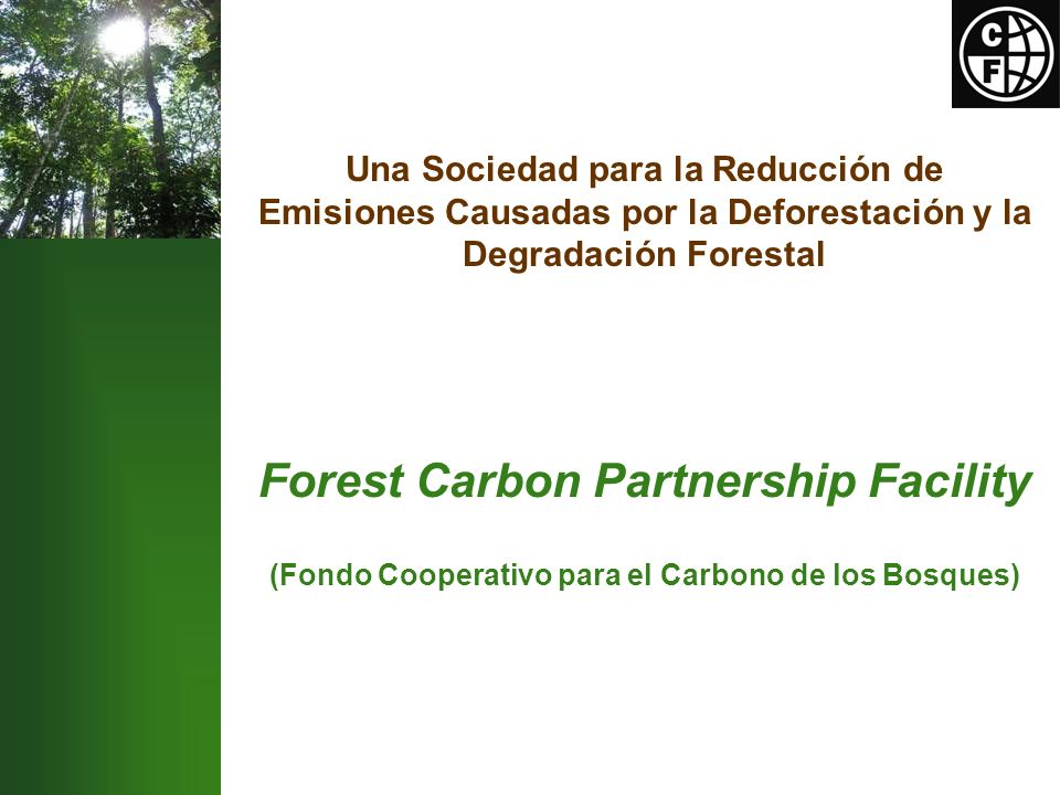 Una Sociedad para la Reducción de Emisiones Causadas por la Deforestación y la Degradación Forestal Forest Carbon Partnership Facility (Fondo Cooperativo para el Carbono de los Bosques)