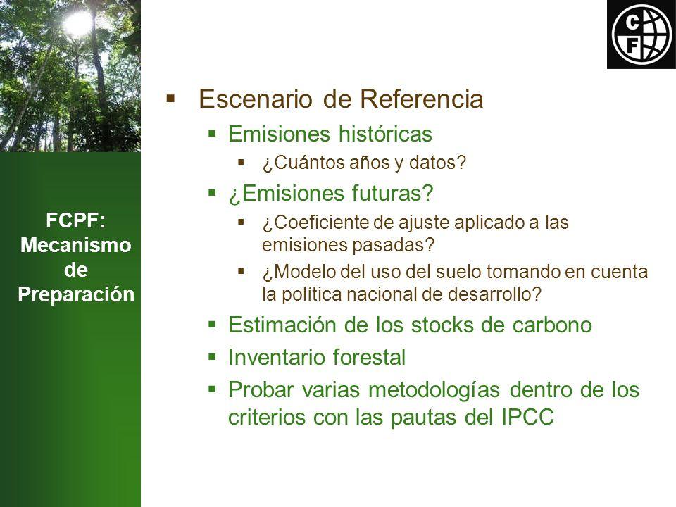 FCPF: Mecanismo de Preparación Escenario de Referencia Emisiones históricas ¿Cuántos años y datos.