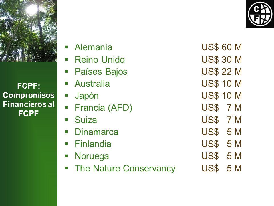 Announced Contributions (to date) AlemaniaUS$ 60 M Reino UnidoUS$ 30 M Países BajosUS$ 22 M AustraliaUS$ 10 M JapónUS$ 10 M Francia (AFD)US$ 7 M SuizaUS$ 7 M DinamarcaUS$ 5 M Finlandia US$ 5 M Noruega US$ 5 M The Nature Conservancy US$ 5 M FCPF: Compromisos Financieros al FCPF