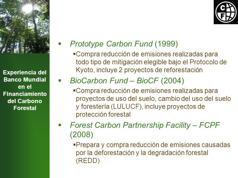 Experiencia del Banco Mundial en el Financiamiento del Carbono Forestal Prototype Carbon Fund (1999) Compra reducción de emisiones realizadas para todo tipo de mitigación elegible bajo el Protocolo de Kyoto, incluye 2 proyectos de reforestación BioCarbon Fund – BioCF (2004) Compra reducción de emisiones realizadas para proyectos de uso del suelo, cambio del uso del suelo y forestería (LULUCF), incluye proyectos de protección forestal Forest Carbon Partnership Facility – FCPF (2008) Prepara y compra reducción de emisiones causadas por la deforestación y la degradación forestal (REDD)