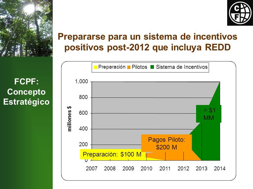 FCPF: Concepto Estratégico Prepararse para un sistema de incentivos positivos post-2012 que incluya REDD Preparación: $100 m Pilotos: $200 m > $1 b 0 200 400 600 800 1,000 20072008200920102011201220132014 millones $ Preparación PilotosSistema de Incentivos Preparación: $100 M Pagos Piloto: $200 M > $1 MM
