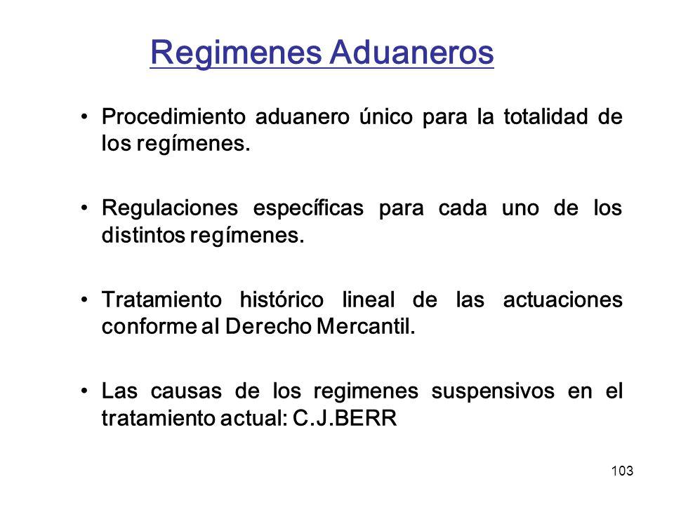 103 Regimenes Aduaneros Procedimiento aduanero único para la totalidad de los regímenes. Regulaciones específicas para cada uno de los distintos regím
