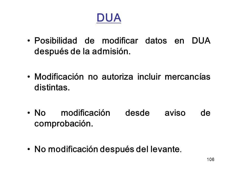 106 DUA Posibilidad de modificar datos en DUA después de la admisión. Modificación no autoriza incluir mercancías distintas. No modificación desde avi