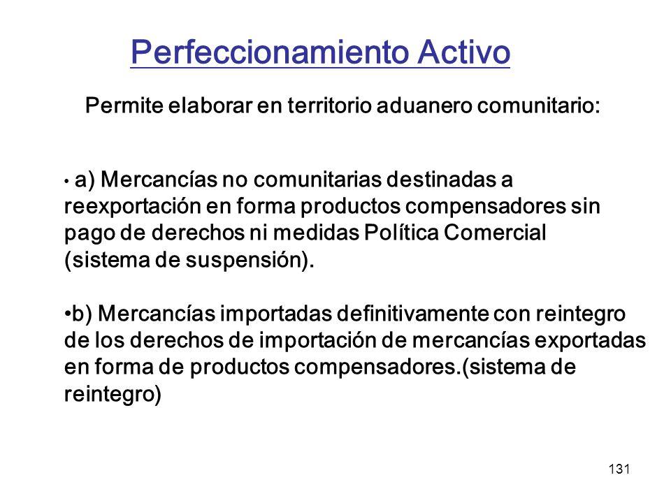 131 Perfeccionamiento Activo Permite elaborar en territorio aduanero comunitario: a) Mercancías no comunitarias destinadas a reexportación en forma pr