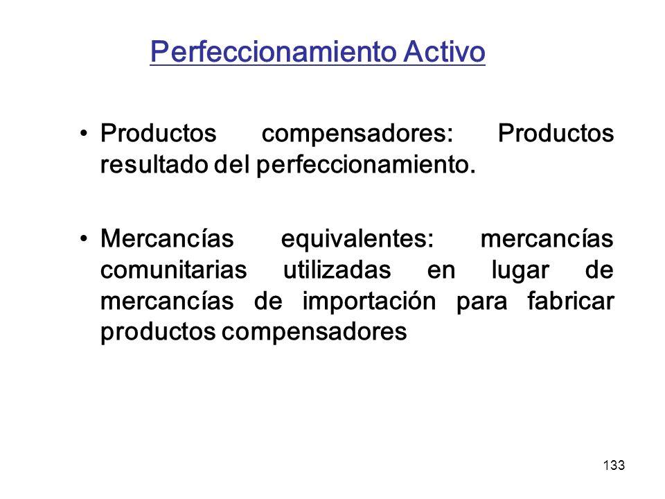 133 Perfeccionamiento Activo Productos compensadores: Productos resultado del perfeccionamiento. Mercancías equivalentes: mercancías comunitarias util