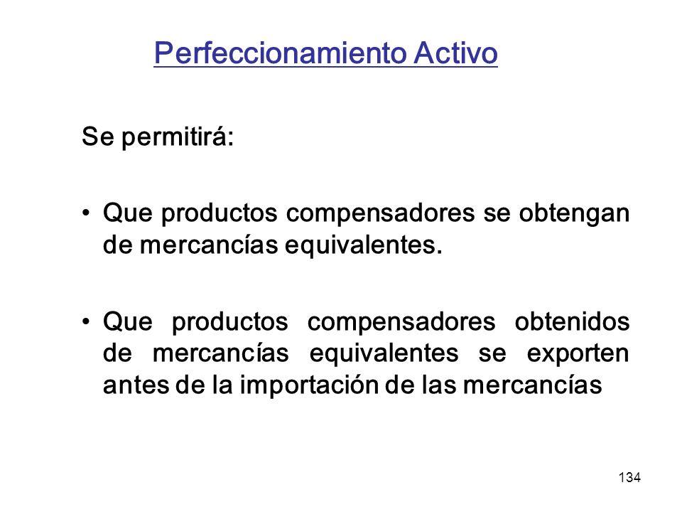 134 Perfeccionamiento Activo Se permitirá: Que productos compensadores se obtengan de mercancías equivalentes. Que productos compensadores obtenidos d