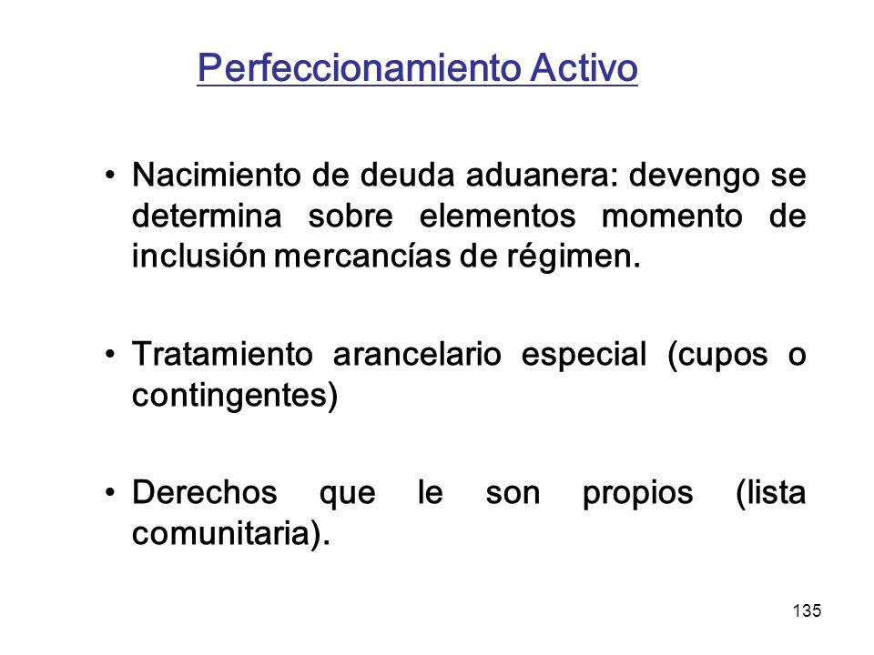 135 Perfeccionamiento Activo Nacimiento de deuda aduanera: devengo se determina sobre elementos momento de inclusión mercancías de régimen. Tratamient