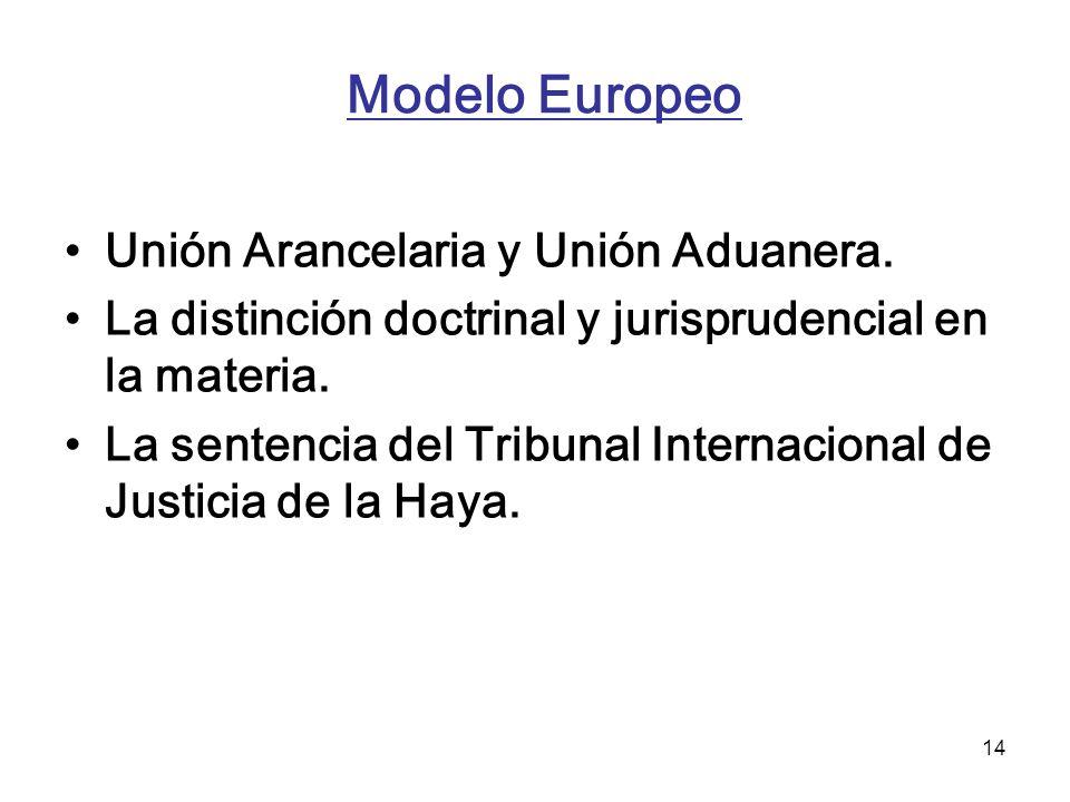14 Modelo Europeo Unión Arancelaria y Unión Aduanera. La distinción doctrinal y jurisprudencial en la materia. La sentencia del Tribunal Internacional