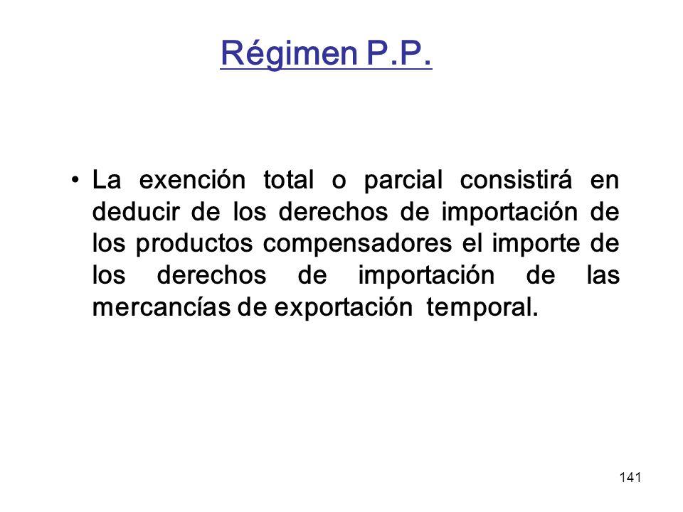 141 Régimen P.P. La exención total o parcial consistirá en deducir de los derechos de importación de los productos compensadores el importe de los der