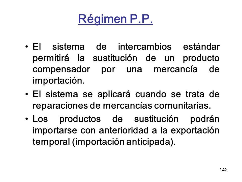 142 Régimen P.P. El sistema de intercambios estándar permitirá la sustitución de un producto compensador por una mercancía de importación. El sistema