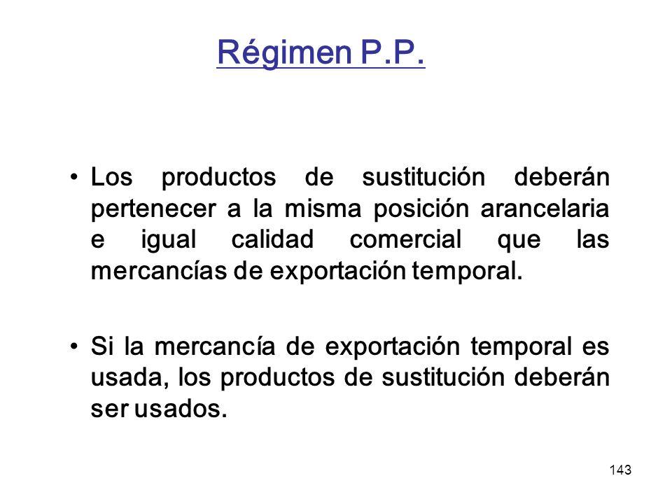 143 Régimen P.P. Los productos de sustitución deberán pertenecer a la misma posición arancelaria e igual calidad comercial que las mercancías de expor