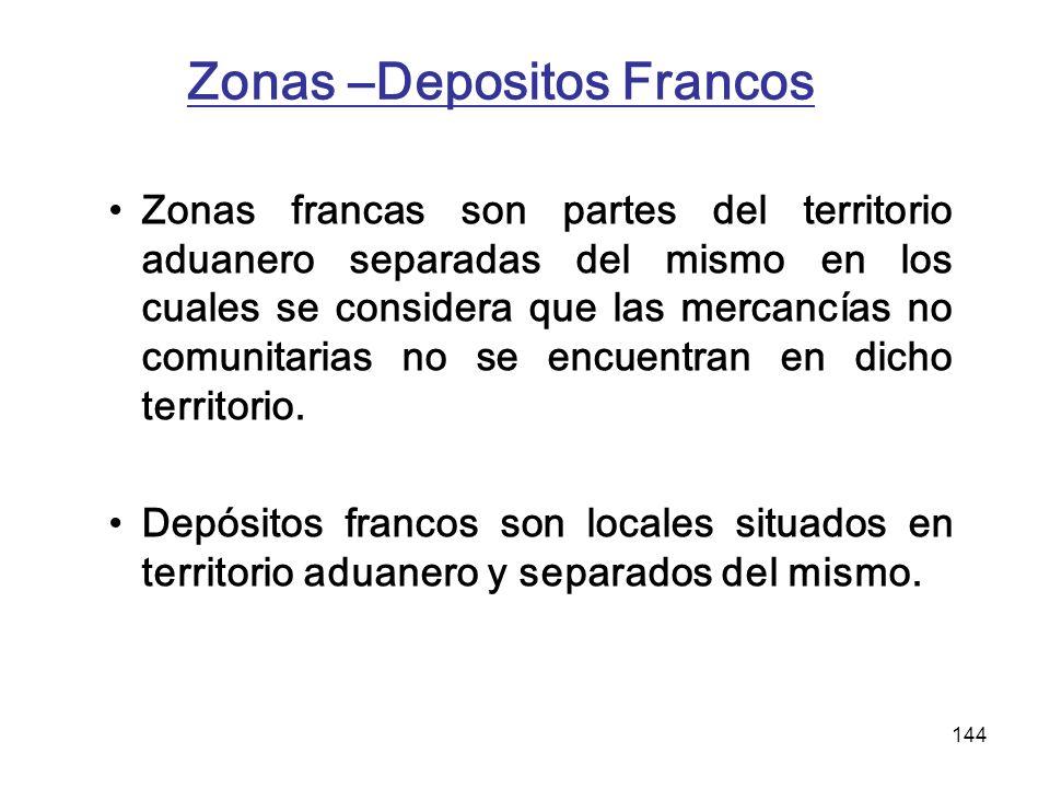 144 Zonas –Depositos Francos Zonas francas son partes del territorio aduanero separadas del mismo en los cuales se considera que las mercancías no com