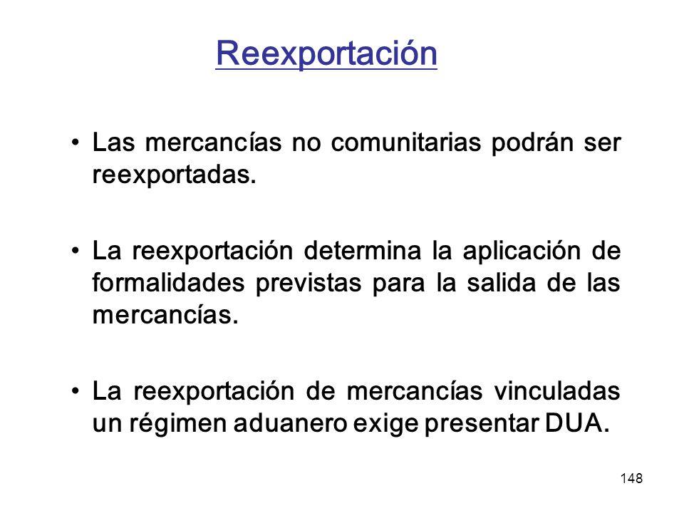 148 Reexportación Las mercancías no comunitarias podrán ser reexportadas. La reexportación determina la aplicación de formalidades previstas para la s