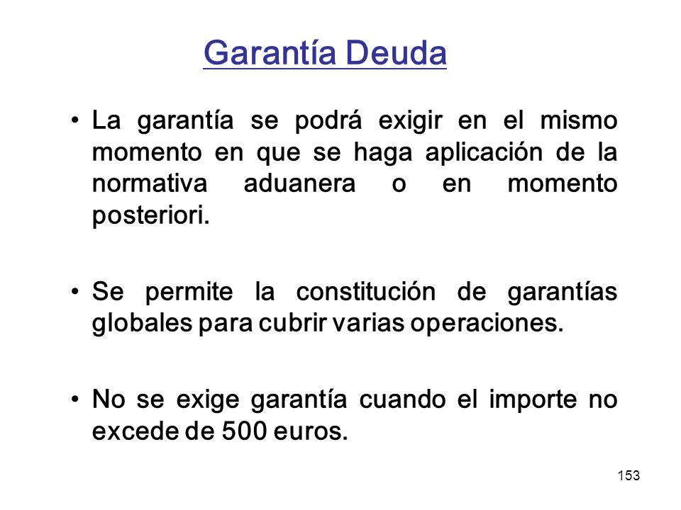 153 Garantía Deuda La garantía se podrá exigir en el mismo momento en que se haga aplicación de la normativa aduanera o en momento posteriori. Se perm