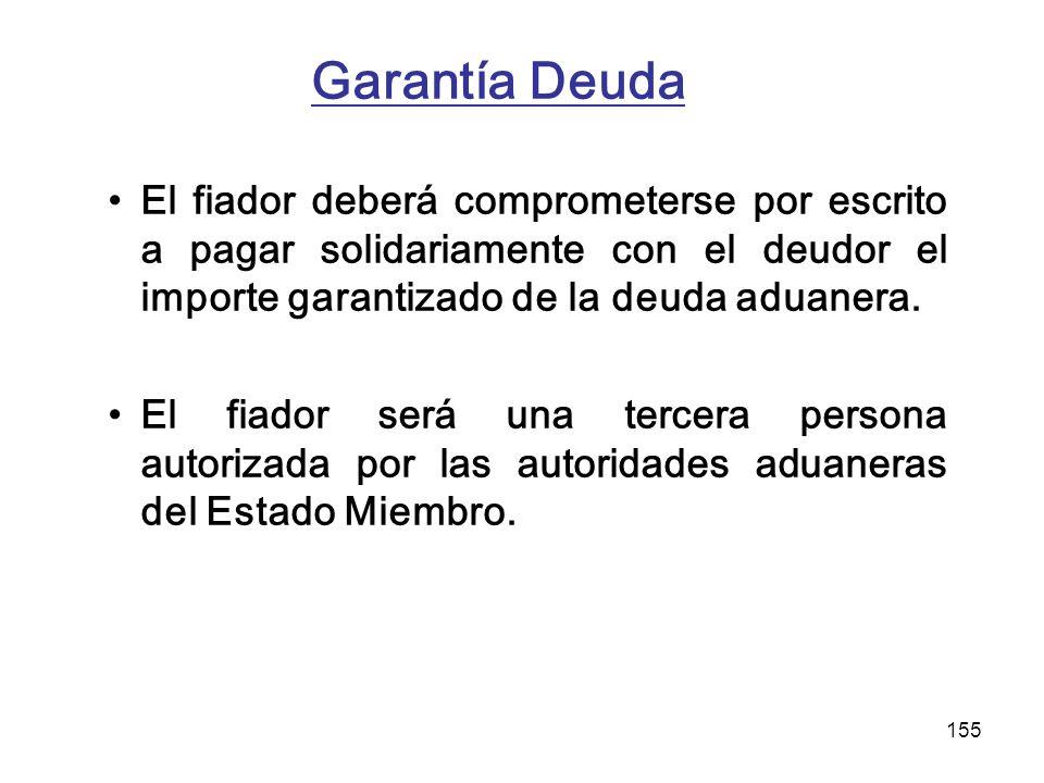 155 Garantía Deuda El fiador deberá comprometerse por escrito a pagar solidariamente con el deudor el importe garantizado de la deuda aduanera. El fia