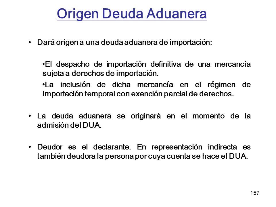 157 Origen Deuda Aduanera Dará origen a una deuda aduanera de importación: El despacho de importación definitiva de una mercancía sujeta a derechos de