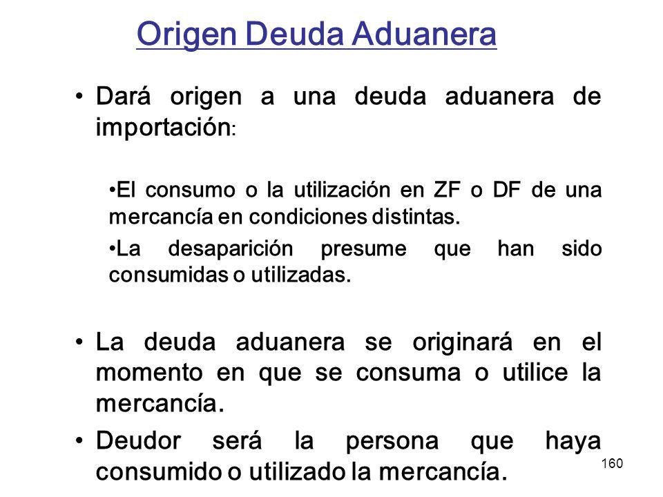 160 Origen Deuda Aduanera Dará origen a una deuda aduanera de importación : El consumo o la utilización en ZF o DF de una mercancía en condiciones dis