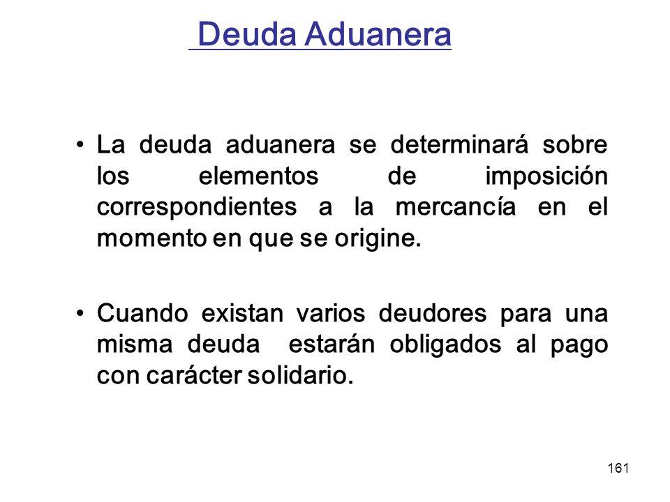 161 Deuda Aduanera La deuda aduanera se determinará sobre los elementos de imposición correspondientes a la mercancía en el momento en que se origine.